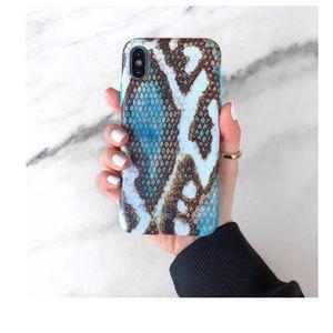 Blue snakeskin iphone x case